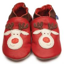 Inch Blue baby slofje rudolph rood/glitter